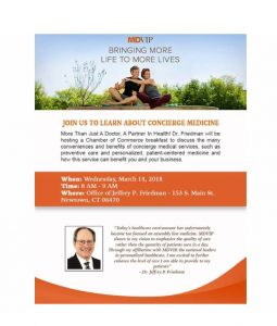 Join us to learn about Concierge Medicine @ Office of Jeffrey P. Friedman