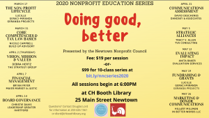 Newtown Nonprofit Council Educational Series - watch for new dates @ C.H. Booth Library