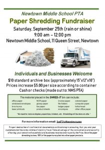 Paper Shredding Fundraiser - NMS PTA @ Newtown Middle School